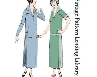 1924 Ladies Dress With Side Pleats - Reproduction Sewing Pattern #Z3533