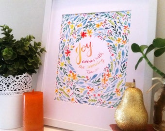 Joy Comes with the Morning Watercolour Art Print, Bible Verse, Psalm 30, home decor, inspirational quote, office, wall art, Scripture