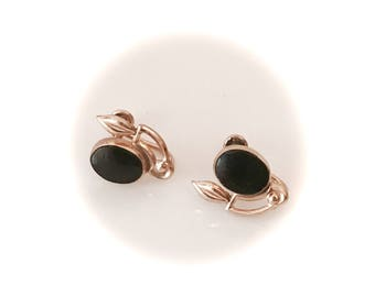 Vintage gemstone earrings black onyx  12k  1/20 gold filled screw back oval stone fashion jewelry