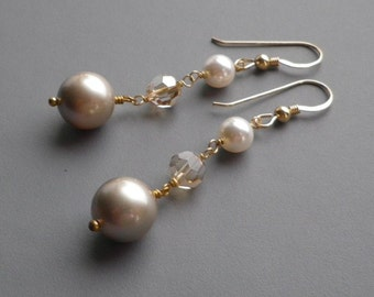 Crystal Pearls Gold Earrings