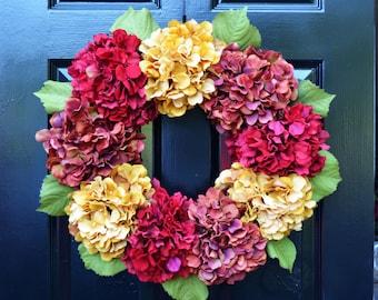 Hydrangea Fall Wreaths, Fall Hydrangea Wreath, Outdoor Fall Decor, Fall Decoration, Fall Hydrangeas, Fall Decoration, Door Wreath