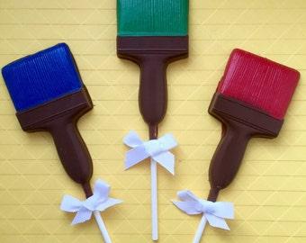 PAINT BRUSH Chocolate Pops(12)- Construction Party/Artist Party Favors