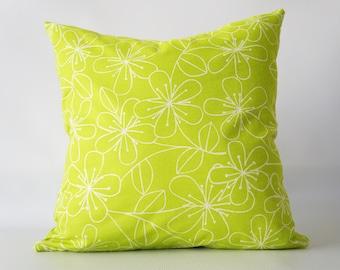 22x22Lime Green Pillow Cover, green pillow cover, floral pillow cover, green floral pillow cover, green decorative pillow, toss pillow cover