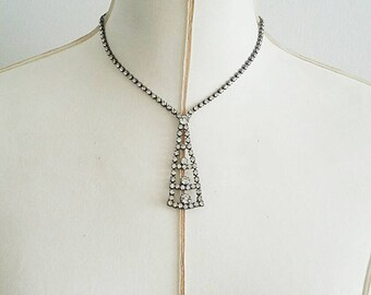 Vintage Rhinestone Pyramid Necklace