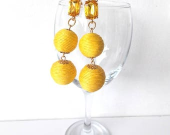 Yellow Two Tier Thread Ball Earrings