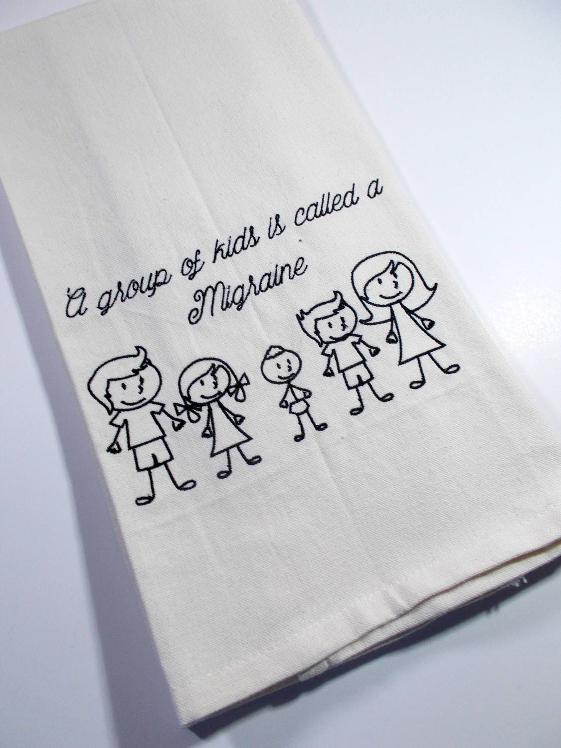 Embroidered Towel - Kitchen Towel - Migraine –Stick Kids- Funny ...