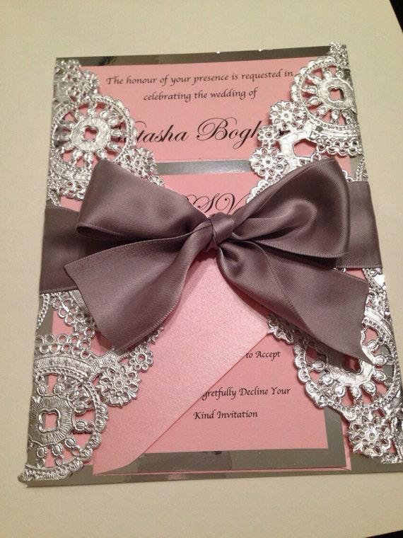 Sample Metallic Doilies Wedding Invitation Suite With Ribbon