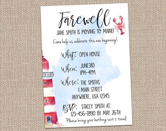 Farewell Invite-Maine Invite-Moving Party-Going Away Party-Bon Voyage- Lighthouse Invite-Lobster Invite