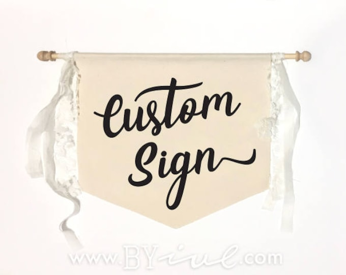 Custom wedding flag sign. Here comes the bride. Banner pennant flag. The perfect touch for a romantic vintage rustic wedding decor.