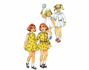 1970s Little Girls Princess Seam Dress Front Button Jacket Simplicity 6241 Vintage Sewing Pattern Size 4 Breast 23 UNCUT
