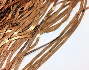 10/50Yards Slinky Flat Snake Chain Raw Brass 2.3mm Wide