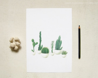 Cactus Watercolor Print - Any ONE 8x10 OR 8x11 Cactus Art, Cactus Print / 8x10 OR 8x11 Botanical Print, Modern Home Decor