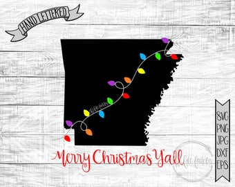 Merry Christmas Y'all Arkansas Christmas Lights SVG / Merry Christmas Y'all Cut File and Printable / Commercial Use