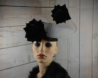 Black & White Crinoline and Sinimay  Fascinator with flowers