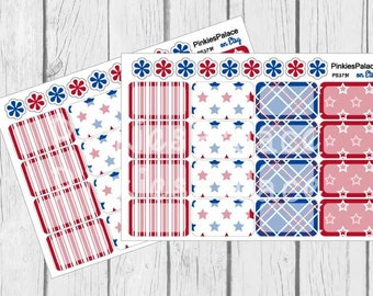 16 Planner Stickers Half Box 4th of July Planner Stickers Americana Patriotic Red White Blue Fits Erin Condren Planners