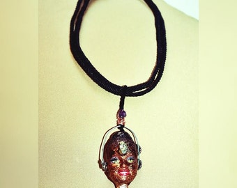 Handpainted Golden Pyrite & Obsidian, Tangerine Quartz Crystal Barbiiee Talisman Necklace