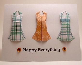 Origami Dress Happy Everything card (blue orange)