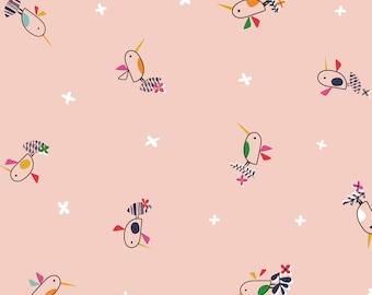Tropical Bird Fabric, Bird Print, Exotic Birds, Light Pink  Bird Print, Club Tropicana, Dashwood Studio, 100% Quilting Cotton Fabric