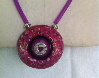 Locket necklace mosaic Pink/Purple/plum tones