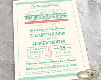 Carnival Theme Wedding Invitation Set with Invitation and RSVP Postcard