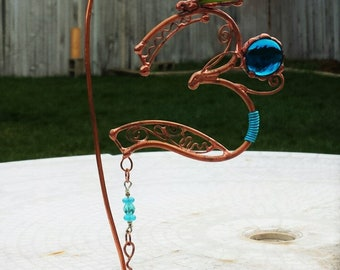 Om- copper and glass suncatcher