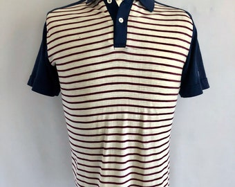 Vintage Men's 80's Jantzen, Striped, Polo Shirt, Navy Blue, Cream, Short Sleeve (L)