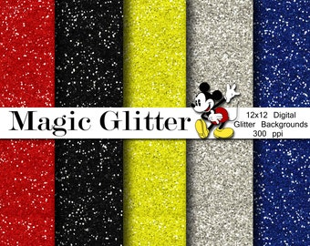 Mickey Glitter Digital Paper Backgrounds Pack - 12x12  - INSTANT DOWNLOAD
