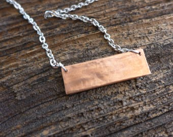 Trash to Treasure, Hammered copper bar necklace