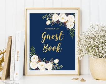 Guest Book Sign, Guest Book Reception Sign, Printable Wedding Sign, Please Sign our Guest Book, Wedding Sign, Instant Download, Navy, #A057