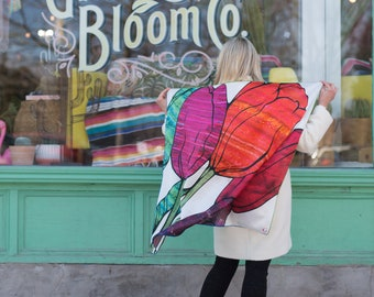 Silk Print Scarf - Tulip