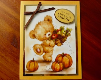 Cute Friendship Card, Handmade Birthday Card, 3D Autumn Card, Sweet Little Bear Card, Fun Encouragement Card, Paper Handmade Greeting Card