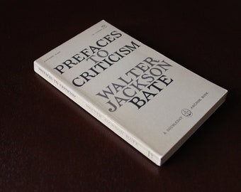 Prefaces to Criticism by Walter Jackson Bate (1959)