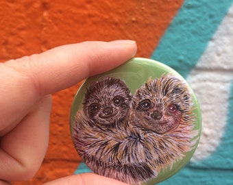Sloth 58mm Pin Back Button Badge