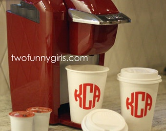 Personalized Paper Coffee Cups with Traveler Lids Monogrammed 12 oz