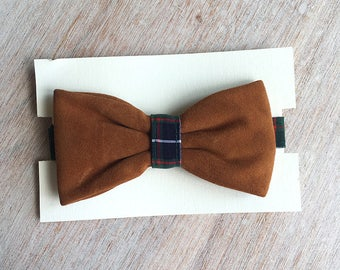 Leather - green Plaid bowtie