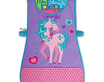 Personalized Kids Craft Apron Smock by Stephen Joseph in Unicorn theme girls