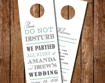 Printable- Wedding Door Hanger - Wedding Itinerary