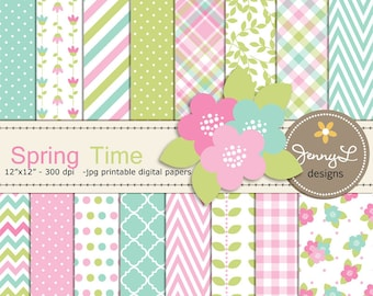 Spring Digital Papers and Flower Clipart, Tulip Blossom, Mother's Day, Girl Digital Scrapbooking Paper, Springtime, Green, Turquoise, Pink,