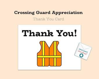 Printable DOWNLOAD - Thank You Card - School Crossing Guard Appreciation - From Students - Crossing Guard - DIY - Printable