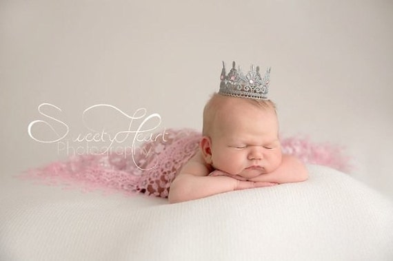 Silver lace princess crown newborn photo prop maternity photo
