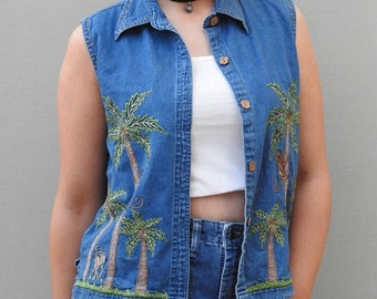 90s Festival Denim Palm Print Vest