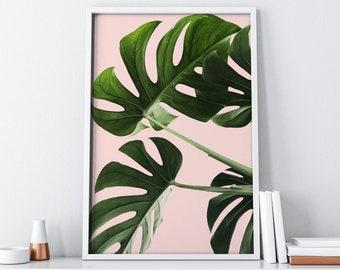 Pink Monstera Printable Wall Art| Tumblr Bohemian Decor| Large Wall Art Instant Download| Boho Chic Botanical Print| Tropical Modern Art