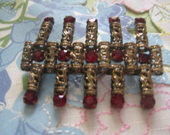 Huge Unusual Shaped Brooch of Brass and Siam Red Rhinestones