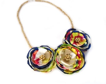 Fabric Flower Necklace, Blue Flower Jewelry, Gold Bead Necklace, Floral Bib Necklace, Flower Jewelry, Womens Necklace, Colorful Flowers