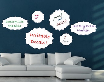 Writable Decal, Erasable Wall Decal, Dry Erase Material, Dry Erase Wall Decal Mural, Removable Dry Erase Wall Decal Mural, Writable Art, b79