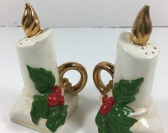 Vintage Christmas Hollyberry White/Gold Candle Stick And Holder Salt & Pepper Shakers