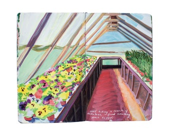 Fine Art Print of Painting from Artist Travel Journal - Finland Greenhouse