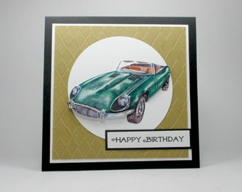 Birthday card for him, antique cars, men's birthday cards, birthday cards,  birthday card for husband, birthday card for grandfather