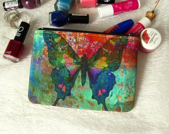 Zippered pouch with multicoloured butterfly, makeup bag, phone case, purse