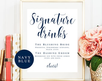 Signature drink sign download Editable template Navy wedding template Navy cocktail sign Signature cocktail sign Wedding drink menu #vm23